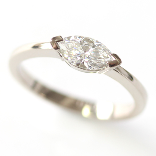 18ct White Gold Solitaire Marquise Cut Diamond Engagement Ring.jpg