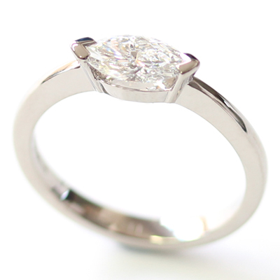 18ct White Gold Solitaire Marquise Cut Diamond Engagement Ring 4 - Copy.jpg