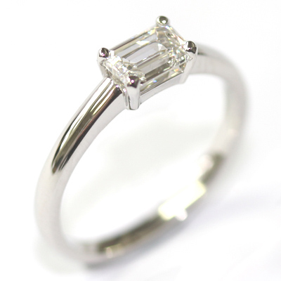 Platinum Solitaire Emerald Cut Diamond Engagement Ring 2.jpg