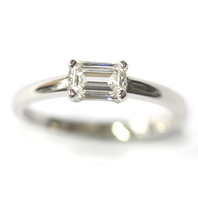 Platinum Solitaire Emerald Cut Diamond Engagement Ring 4.jpg