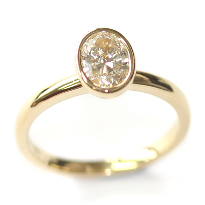 Yellow Gold Rub Set Oval Cut Diamond Engagement Ring 2.jpg