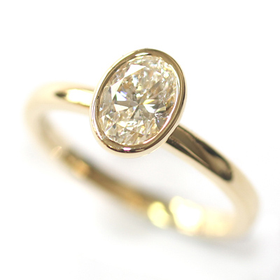 Yellow Gold Rub Set Oval Cut Diamond Engagement Ring 4.jpg