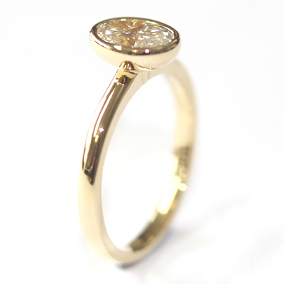 Yellow Gold Rub Set Oval Cut Diamond Engagement Ring 5.jpg
