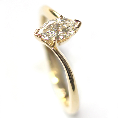 18ct Yellow Gold Solitaire Marquise Cut Diamond Engagement Ring 3.jpg