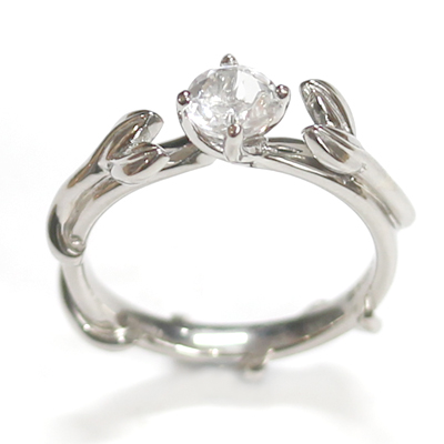 Palladium White Topaz Leaf Design Engagement Ring 2.jpg