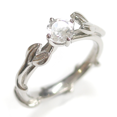 Palladium White Topaz Leaf Design Engagement Ring 1.jpg