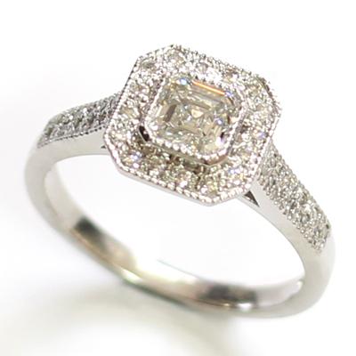 Platinum Asscher Cut Diamond Halo Engagement Ring 3.jpg
