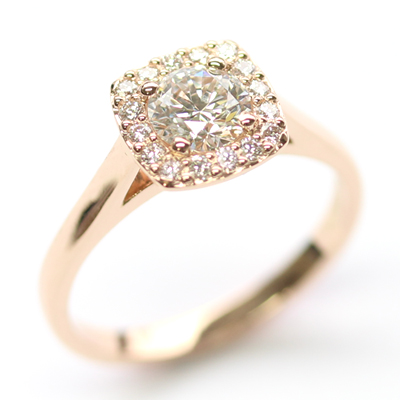 18ct Rose Gold Diamond Halo Cluster Engagement Ring 1.jpg