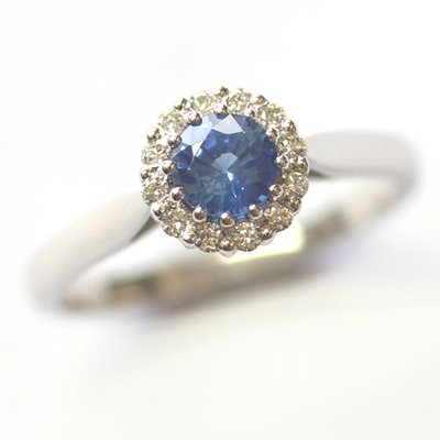 Crown Collection White Gold Sapphire and Diamond Halo Ring 1.jpg
