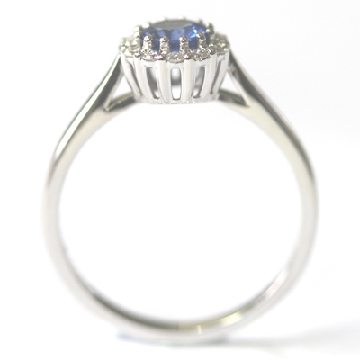 Crown Collection White Gold Sapphire and Diamond Halo Ring 6.jpg