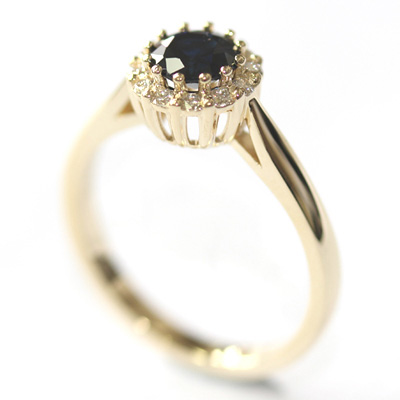 Yellow Gold Sapphire and Diamond Halo Engagement Ring 2.jpg