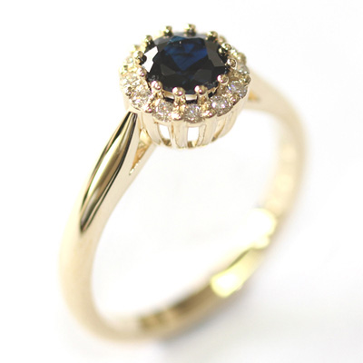 Yellow Gold Sapphire and Diamond Halo Engagement Ring 1.jpg