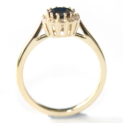 Yellow Gold Sapphire and Diamond Halo Engagement Ring 3.jpg