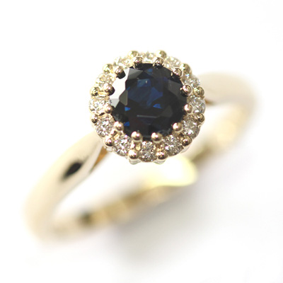 Yellow Gold Sapphire and Diamond Halo Engagement Ring 4.jpg