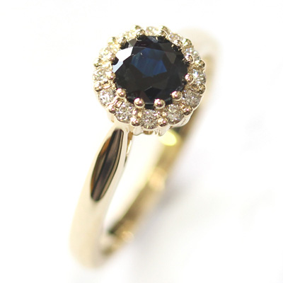Yellow Gold Sapphire and Diamond Halo Engagement Ring 5.jpg