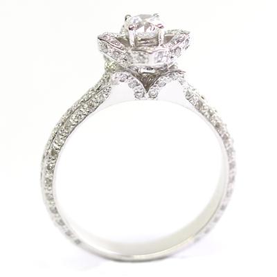 18ct White Gold Diamond Rose Engagement Ring 6.jpg