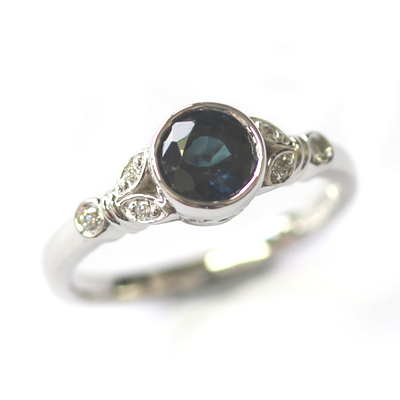 White Gold Sapphire and Diamond Antique Style Engagement Ring 1.jpg