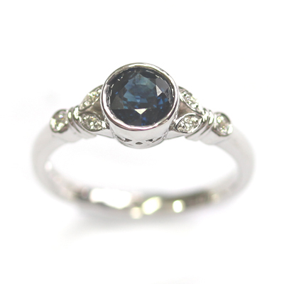 White Gold Sapphire and Diamond Antique Style Engagement Ring 3.jpg