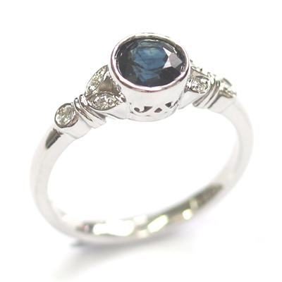 White Gold Sapphire and Diamond Antique Style Engagement Ring 4.jpg