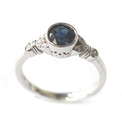 White Gold Sapphire and Diamond Antique Style Engagement Ring 6.jpg