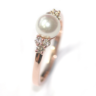 9ct Rose Gold Plain Pearl and Diamond Engagement Ring 2.jpg