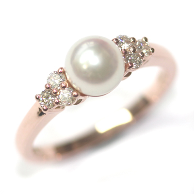 9ct Rose Gold Plain Pearl and Diamond Engagement Ring 1.jpg