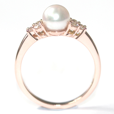 9ct Rose Gold Plain Pearl and Diamond Engagement Ring 3.jpg