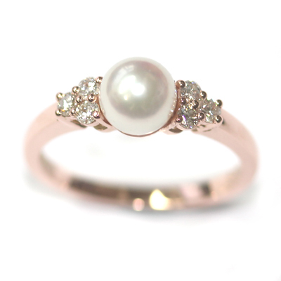 9ct Rose Gold Plain Pearl and Diamond Engagement Ring 4.jpg