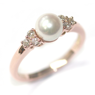 9ct Rose Gold Plain Pearl and Diamond Engagement Ring 5.jpg