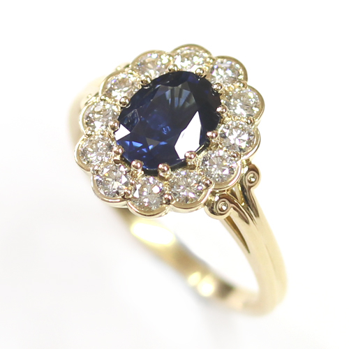 18ct Yellow Gold Sapphire and Diamond Cluster Engagement Ring 2.jpg