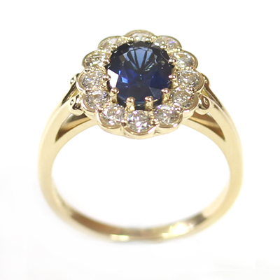 18ct Yellow Gold Sapphire and Diamond Cluster Engagement Ring 1.jpg