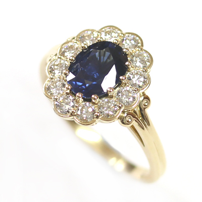 18ct Yellow Gold Sapphire and Diamond Cluster Engagement Ring 3.jpg