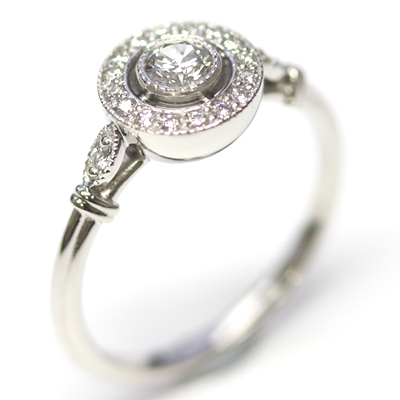 Platinum Antique Style Diamond Halo Engagement Ring 4.jpg