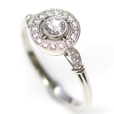Platinum Antique Style Diamond Halo Engagement Ring 2.jpg