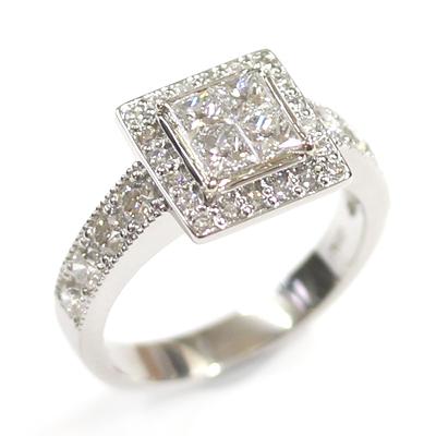 Platinum Princess Cut Diamond Cluster Engagement Ring 3.jpg