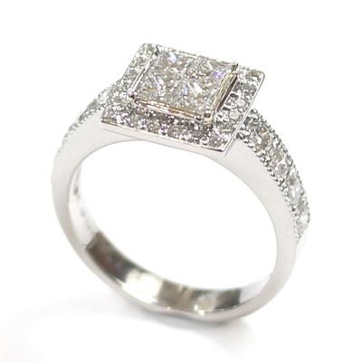 Platinum Princess Cut Diamond Cluster Engagement Ring 6.jpg