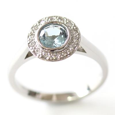 Platinum Aquamarine and Diamond Halo Engagement Ring 1.jpg