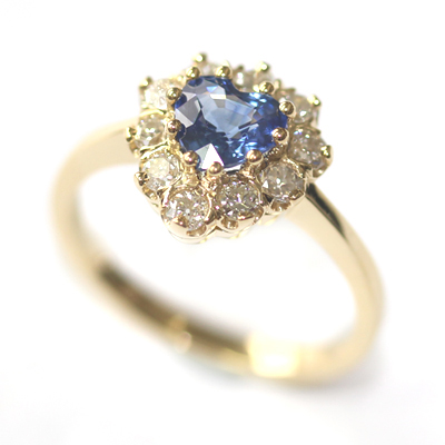 18ct Yellow Gold Heart Shape Sapphire and Diamond Engagement Ring 1.jpg
