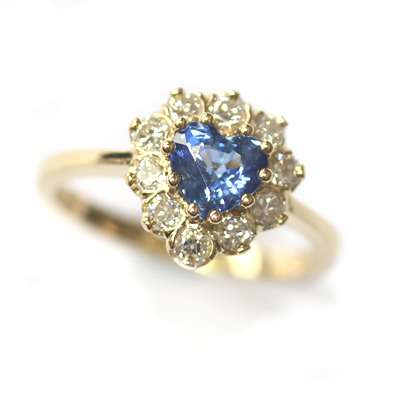 18ct Yellow Gold Heart Shape Sapphire and Diamond Engagement Ring 2.jpg