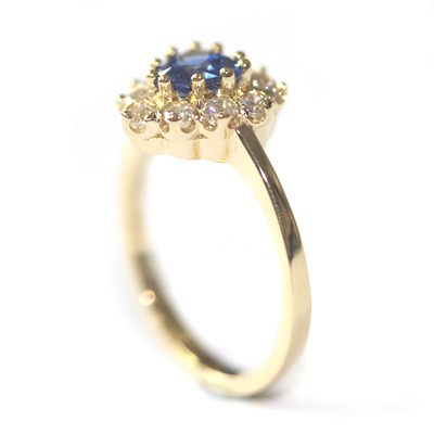 18ct Yellow Gold Heart Shape Sapphire and Diamond Engagement Ring 4.jpg