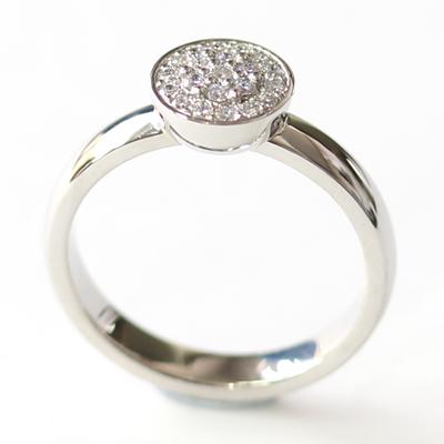 Platinum Round Brilliant Cut Diamonds Cluster Engagement Ring 3.jpg