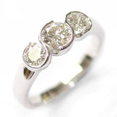 White Gold Part Rub Set Round Brilliant Cut Diamond Trilogy Engagement Ring 5.jpg