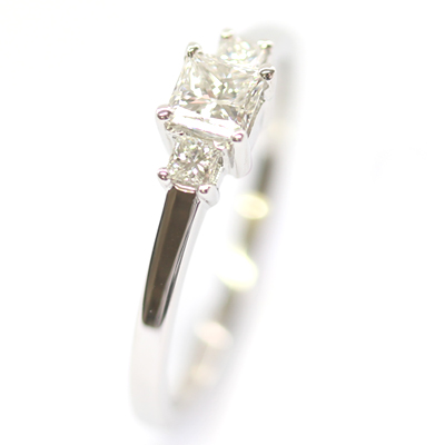 Platinum Princess Cut Diamond Trilogy Engagement Ring 4.jpg