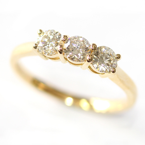 Yellow Gold Round Brilliant Cut Diamond Trilogy Engagement Ring.jpg