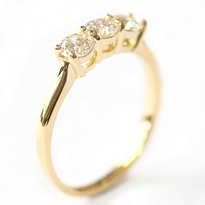Yellow Gold Round Brilliant Cut Diamond Trilogy Engagement Ring 3.jpg