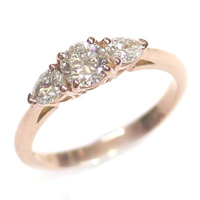 14ct Rose Gold Diamond Trilogy Engagement Ring 1.jpg
