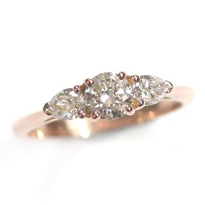 14ct Rose Gold Diamond Trilogy Engagement Ring 2.jpg