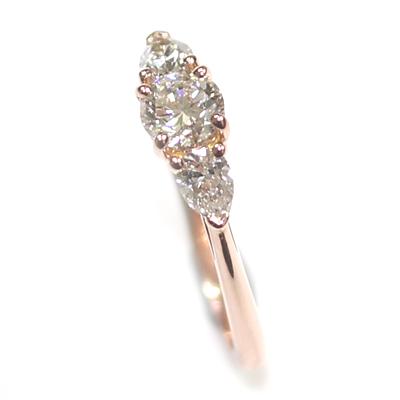 14ct Rose Gold Diamond Trilogy Engagement Ring 4.jpg