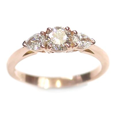 14ct Rose Gold Diamond Trilogy Engagement Ring 6.jpg