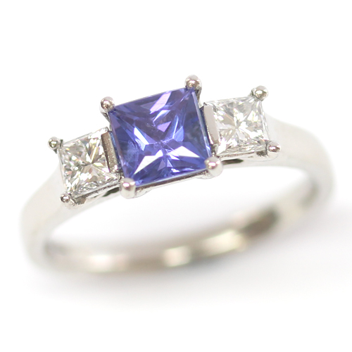 Platinum Art Deco Sapphire and Diamond Trilogy Engagement Ring.jpg